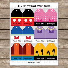 2792e9c7ecd Mickey Mouse Clubhouse Party Thank You Favor Tags - Mickey Minnie Mouse  Donald Daisy Duck Goofy Pluto - DIY Party Printable Instant Download