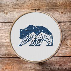 Bear Cross Stitch Pattern, Bear, keeper of the night cross stitch pattern, modern cross stitch, mountains cross stitch, gift for rangers