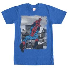 Spider Thread Peter Parker is going to swing on by with the Marvel Spider-Man Flight Heather Royal Blue T-Shirt. This awesome blue Marvel shirt has Spider-Man swinging towards you on a thread of web. Hoodie Allen, Spider Man Comics, Royal Blue T Shirt, Marvel Shirt, Black Widow Marvel, Geek Tech, Man Thing Marvel, Baseball Shirts, Sweatshirts