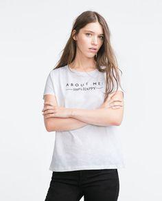 画像 1 の テキストプリント入りTシャツ ザラから