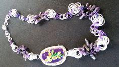 collana chainmaille  con agata del brasile viola e di giujoux, $55.00