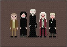 harry's foes and snape (cross stitch pattern)   wee little stitches