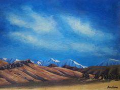 Craigieburn Range View Acrylic by Jane Guise Acrylic Paintings, New Zealand, My Arts, Range, Mountains, Nature, Artist, Artwork, Cookers