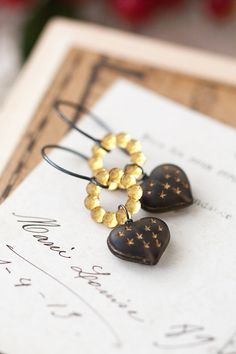 Amber Yellow and Charcoal Gray Oxidized Sterling Silver Earrings, Mother's Day BFF Birthday Gift for Her Mom Sister Aunt under 30 dollars