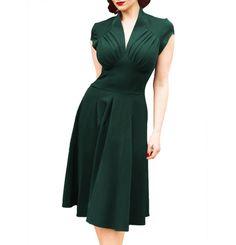 Green V-Neck Vintage Dress