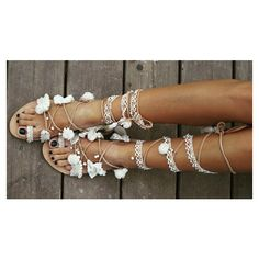 RiRiPoM, Tie Up Gladiator Leather Sandals, Lace Sandals, Wedding... (€169) via Polyvore featuring shoes, sandals, bridal sandals, boho sandals, tassel sandals, lace bridal shoes and bohemian sandals