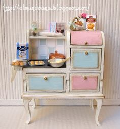 RESERVED Kitchen with accessories for dollhouses by Mundorosa