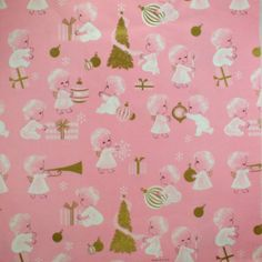 Christmas •~• vintage gold, pink, and white angels gift wrap