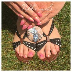 Summer nails, pink nals, hand and feet nails, sweet nails