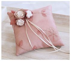 Ring Pillow. Pale Chestnut Handmade Wedding Ring Pillow With Fabric Handmade Flowers.