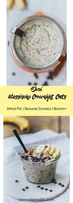 3 Klassische Overnight Oat Rezepte 3 classic Overnight Oat recipes you must try. – Klara`s Life Simple, fast and tasty. Apple pie, banana chocolate and bounty An Overnight Oats basisApple Pie Overnight OatsSlow Cooker Overnight Oat Overnight Oats Almond Milk, Pumpkin Overnight Oats, Blueberry Overnight Oats, Easy Overnight Oats, Oats Recipes, Beef Recipes, Flour Recipes, Superfood, Caramel