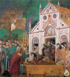 Llanto de las Clarisas. Fresco realizado por  Giotto di Bondone en el año 1290. La escena representa el traslado del cuerpo de San Francisco a su destino final. Giotto representa la multitud que lo despidió, casi como si de una fiesta se tratara, por las calles de Asís, en particular, el episodio de la parada en el convento franciscano de Santa Clara. Actualmente se encuentra en la Basílica de San Francisco en Asís, Italia.