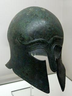 Corinthian Helmet, Bronze, c. 510 BCE, The British Museum Greek Artifacts, Ancient Artifacts, Helmet Armor, Arm Armor, Greek History, Ancient History, Greek Helmet, Corinthian Helmet, Ancient Art
