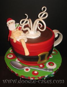 Cocoa Claus!     This is what Santa loves to do before and after he's delievered all those precious packages  Nothing like soaking in a hot cup of cocoa to relax those tired muscles     Freckled Mocha with Chocolate Hazelnut Swiss Buttercream filling
