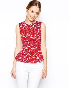 "Pin for Later: 24 Tops That Say ""Let's Party!"" Closet Peplum Top in Damasque Print Closet Peplum Top in Damasque Print (£30)"