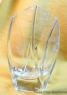 Large Vintage Baccarat France French Glass Signed R Rigot Giverny 10 Inch Vase