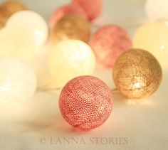 Dusty Rose Pastel Cotton Ball Patio Party String Lights – Fairy, Wedding, Decor