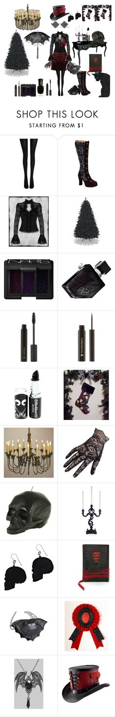 """Gothic Christmas"" by redbutterfly555 ❤ liked on Polyvore featuring McQ by Alexander McQueen, Wolford, Demonia, Deborah Lippmann, NARS Cosmetics, Illamasqua, Hot Topic, Laura Lee Design, D.L. & Co. and Alex and Chloe"