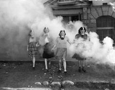 Women in gas masks, Vancouver, B.C., 1940s