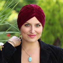 Get your Garbo on with this fun, easy, velvet turban. Very soft and comfortable. A nice turban for cancer patients and women with medical hair loss.