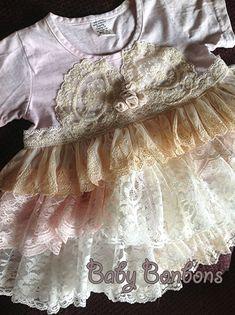 Birthday Party, Baptism, Shabby Chic Wedding Flower Girl Vintage ruffled lace dress by Rosanna Hope for Babybonbons on Etsy, $49.00