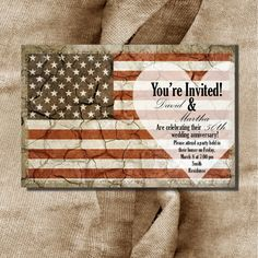 Printable Patriotic US Flag Wedding Anniversary, Military Retirement, Birthday Party Invitation DIY Digital File Only Wedding Wishes, Our Wedding, Wedding Ideas, Birthday Party Invitations, Wedding Invitations, Military Retirement Parties, Deployment Party, Farewell Gifts, Military Wedding