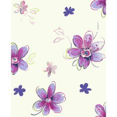 """York Wallcoverings Brothers and Sisters V Bohemian 27' x 27"""" Floral Roll Wallpaper Color: White/Purple/Magenta/Yellow/Green/Silver"""