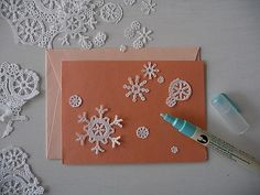 snow flake cards out of doilies!