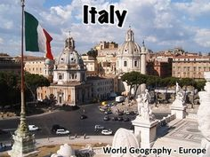"""Italy presentation -  this provides an overview of Italy's history, geography, government, economy, and culture. Includes:Geography - 7 slidesFlag - 1 slideHistory - 5 slidesGovernment - 3 slidesEconomy - 2 slidesCulture - 2 slidesMiscellaneous - 4 slidesThis presentation can be used with the free """"Introduction to World Geography"""" presentation in my store."""