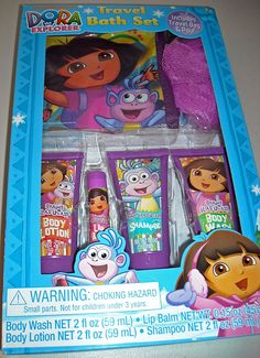 Dora the Explorer 6 Pcs Travel Bath Set - Includes Body Wash, Body Lotion, Shampoo, Lip Balm,Pouf and Travel Bag. * Startling review available here  : Travel Skincare