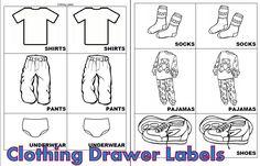 Free Printable Kids Clothing Drawer Labels