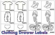 Clothing Drawer Labels. Only has shirts, socks, pants, pajamas, underwear, and shoes.