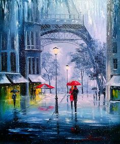 Paris Eiffel Tower painting city street lights and couple with umbrella.