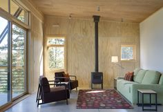 Living room. Pine Forest Cabin, by Balance Associates Architects. Winthrop, Washington. #living_room