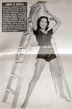 Harlean Harris (Later Mrs. Jackie Wilson) Takes The Ladder to Success - Jet Magazine, August 18, 1955 by vieilles_annonces