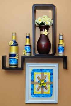 Decorated Bottles Framed Artwork and Earrings by ArtistikCrafts