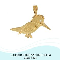 The Belted Kingfisher spends its winters on Sanibel Island. Perhaps this makes it the original snowbird? 😉 14Kt Yellow Gold Kingfisher Pendant with Diamond eye, also available in 14Kt White Gold. A Cedar Chest Original Design!