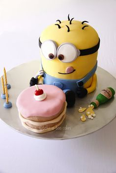 Little Minion Cake from Despicable Me movie (no tutorial, just pictures)...my best friend Alina would DIE if I made her this.