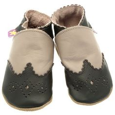 Chaussons cuir souple - Brogue Taupe STARCHILD