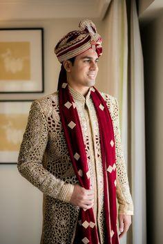 Gold and Red Groom's Sherwani | Megha + Nikhil | Indian Wedding Blog | Think Shaadi