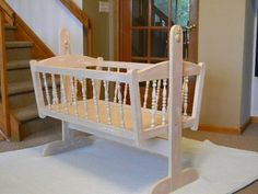 Charming Wooden Doll Cradle- Shabby, Distressed, Chic, Vintage