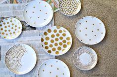 Gold Polka Dot Plate Art