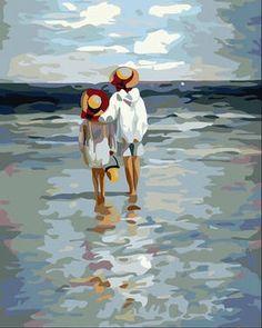 Acrylic painting on the beach