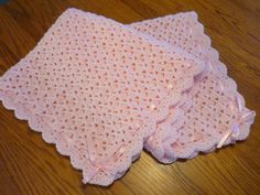 Crochet Baby Blanket Shell Stitch Crochet Crib Size Afghan - Baby Girl Blanket - Soft Pink - Ribbon Trim  - Direct Checkout - Ready to Ship by pegsyarncreations on Etsy