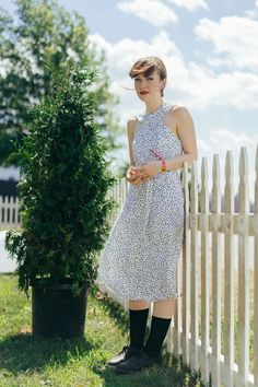 Musician Elena Tonra gives her printed midi-dress some edge with some black socks and brogues. #refinery29 http://www.refinery29.com/2016/07/117807/panorama-festival-street-style-2016#slide-7