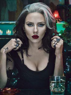 Scarlett Johansson Black and White Hair