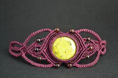 Macrame Bracelet with Serpentine and Garnet Stones by Coco Paniora Salinas