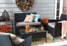 Boost your home's curb appeal with this array of fall-ready porch furniture and decor. Charming wicker rocking chairs and all-weather dining sets offer stylish seating solutions, while cozy rugs, bronzed mailboxes, and autumnal wreaths welcome guests in style.http://www.wayfair.com/daily-sales/Front-Porch-Looks-for-Fall~E14384.html?refid=SBP.rBAZEVRCbiVjQG83z8-KAu4WM1sOe0-MljrTWYJ4BQk
