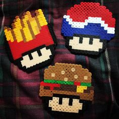 Food mushrooms perler beads by xtinn_