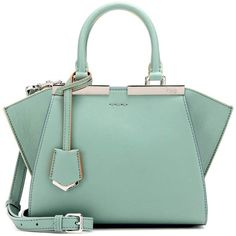 Fendi 3Jours Mini Leather Tote (7 640 PLN) ❤ liked on Polyvore featuring bags, handbags, tote bags, green, tote purses, handbags totes, leather handbag tote, fendi tote and green leather purse